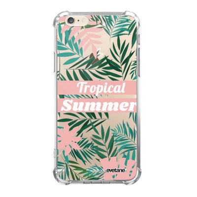 Coque iPhone 6/6S anti-choc souple angles renforcés transparente Tropical Summer Pastel Evetane.