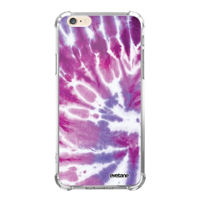 Coque iPhone 6/6S anti-choc souple angles renforcés transparente Tie and Dye Violet Evetane.