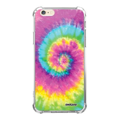 Coque iPhone 6/6S anti-choc souple angles renforcés transparente Tie and Dye Rainbow Evetane.