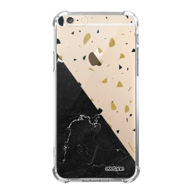 Coque iPhone 6/6S anti-choc souple angles renforcés transparente Terrazzo marbre Noir Evetane.