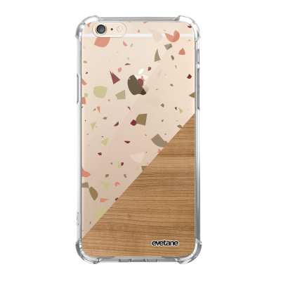 Coque iPhone 6/6S anti-choc souple angles renforcés transparente Terrazzo bois Evetane.