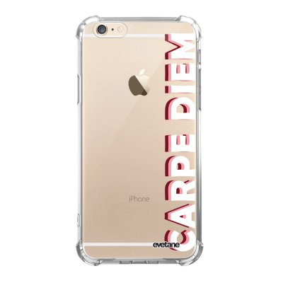 Coque iPhone 6/6S anti-choc souple angles renforcés transparente Carpe Diem New Evetane.