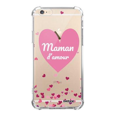 Coque iPhone 6/6S anti-choc souple angles renforcés transparente Maman d'amour coeurs Evetane.