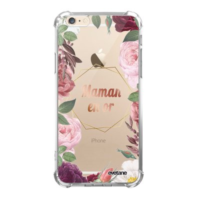 Coque iPhone 6/6S anti-choc souple angles renforcés transparente Coeur Maman D'amour Evetane.