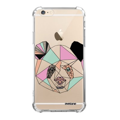 Coque iPhone 6/6S anti-choc souple angles renforcés transparente Panda Outline Evetane.