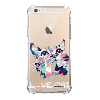 Coque iPhone 6/6S anti-choc souple angles renforcés transparente Cat pixels Evetane.