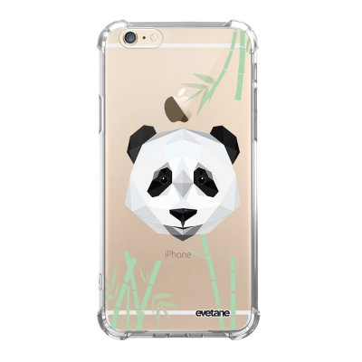 Coque iPhone 6/6S anti-choc souple angles renforcés transparente Panda Bambou Evetane.