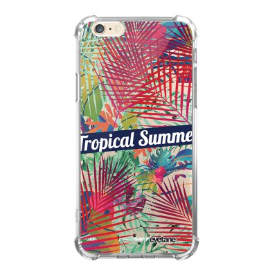 Coque iPhone 6/6S anti-choc souple angles renforcés transparente Tropical Summer Evetane.