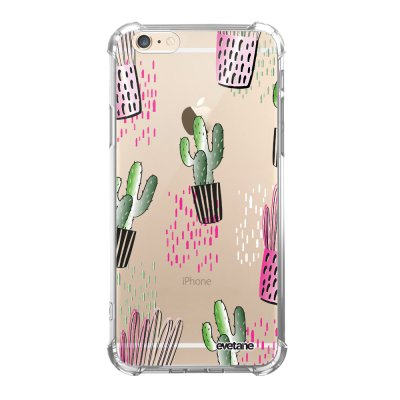 Coque iPhone 6/6S anti-choc souple angles renforcés transparente Cactus motifs Evetane.