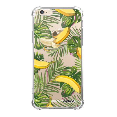 Coque iPhone 6/6S anti-choc souple angles renforcés transparente Bananes Tropicales Evetane.
