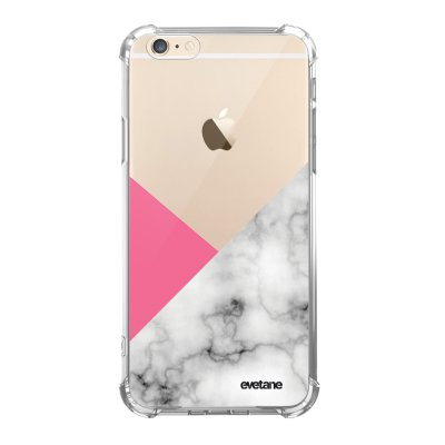 Coque iPhone 6/6S anti-choc souple angles renforcés transparente Marbre rose et gris Evetane.