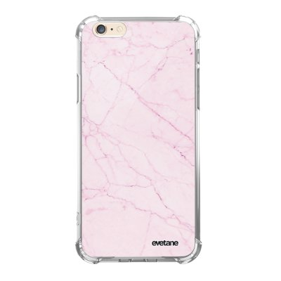 Coque iPhone 6/6S anti-choc souple angles renforcés transparente Marbre rose Evetane.