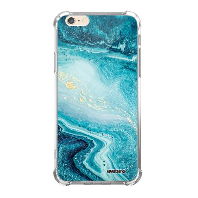 Coque iPhone 6/6S anti-choc souple angles renforcés transparente Bleu Nacré Marbre Evetane.