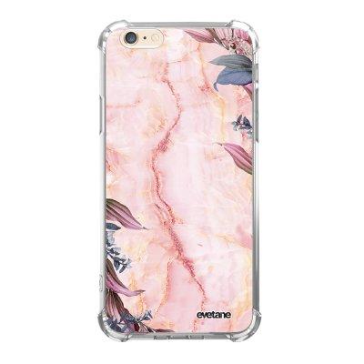 Coque iPhone 6/6S anti-choc souple angles renforcés transparente Marbre Fleurs Evetane.