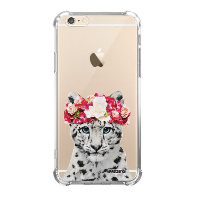 Coque iPhone 6/6S anti-choc souple angles renforcés transparente Leopard Couronne Evetane.