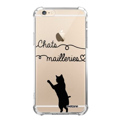 Coque iPhone 6/6S anti-choc souple angles renforcés transparente Chats Mailleries Evetane.