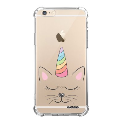 Coque iPhone 6/6S anti-choc souple angles renforcés transparente Chat licorne Evetane.