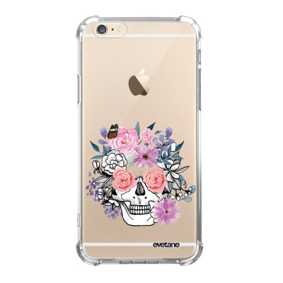 Coque iPhone 6 Plus / 6S Plus anti-choc souple angles renforcés transparente Crâne floral Evetane.