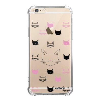 Coque iPhone 6 Plus / 6S Plus anti-choc souple angles renforcés transparente Cats motifs Evetane.