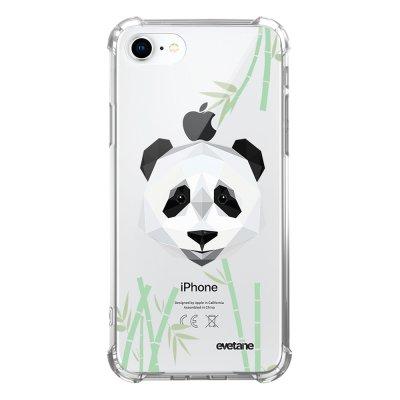 Coque iPhone 7/8/ iPhone SE 2020 anti-choc souple avec angles renforcés transparente Panda Bambou Evetane