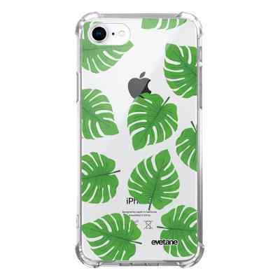 Coque iPhone 7/8/ iPhone SE 2020 anti-choc souple avec angles renforcés transparente Feuilles palmiers Evetane
