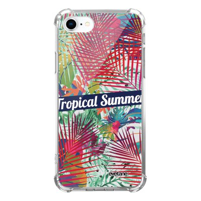 Coque iPhone 7/8/ iPhone SE 2020 anti-choc souple avec angles renforcés transparente Tropical Summer Evetane