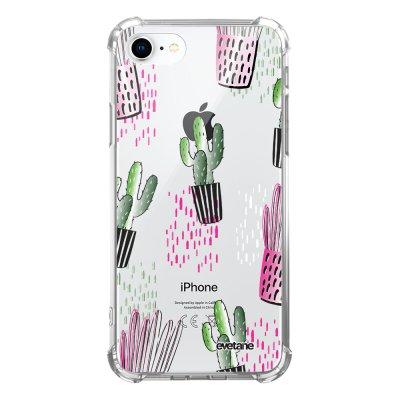 Coque iPhone 7/8/ iPhone SE 2020 anti-choc souple avec angles renforcés transparente Cactus motifs Evetane