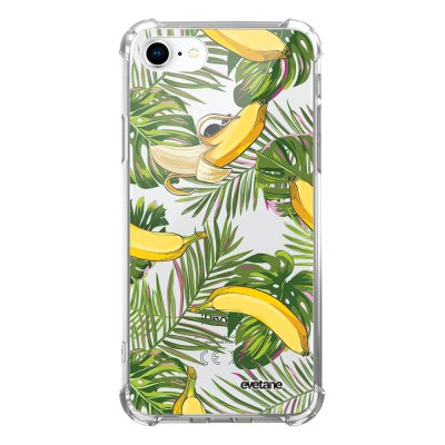 Coque iPhone 7/8/ iPhone SE 2020 anti-choc souple avec angles renforcés transparente Bananes Tropicales Evetane