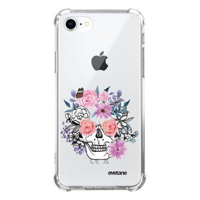 Coque iPhone 7/8/ iPhone SE 2020 anti-choc souple avec angles renforcés transparente Crâne floral Evetane