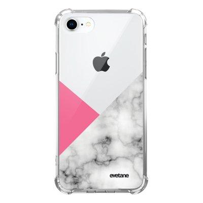 Coque iPhone 7/8/ iPhone SE 2020 anti-choc souple avec angles renforcés transparente Marbre rose et gris Evetane