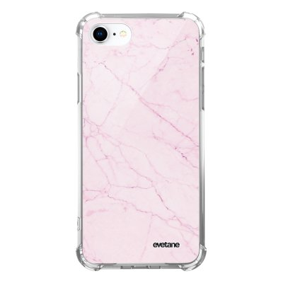 Coque iPhone 7/8/ iPhone SE 2020 anti-choc souple avec angles renforcés transparente Marbre rose Evetane