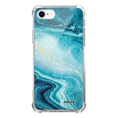 Coque iPhone 7/8/ iPhone SE 2020 anti-choc souple avec angles renforcés transparente Bleu Nacré Marbre Evetane