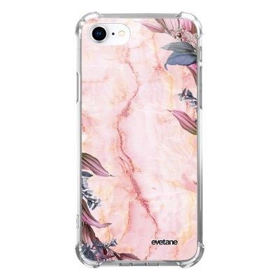 Coque iPhone 7/8/ iPhone SE 2020 anti-choc souple avec angles renforcés transparente Marbre Fleurs Evetane