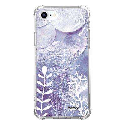 Coque iPhone 7/8/ iPhone SE 2020 anti-choc souple avec angles renforcés transparente Nacre et Algues Evetane