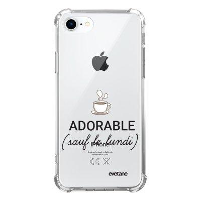 Coque iPhone 7/8/ iPhone SE 2020 anti-choc souple avec angles renforcés transparente Adorable Sauf le Lundi Evetane