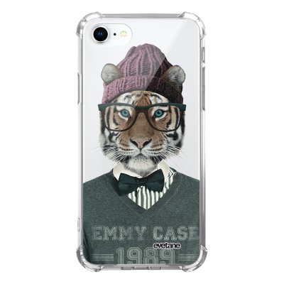 Coque iPhone 7/8/ iPhone SE 2020 anti-choc souple avec angles renforcés transparente Tigre Fashion Evetane