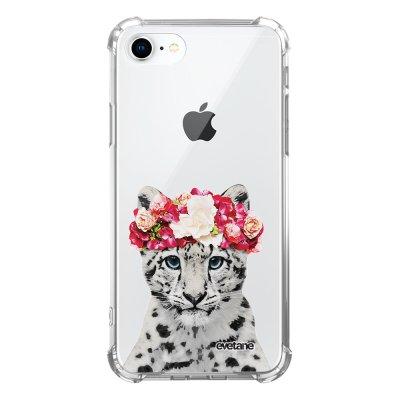 Coque iPhone 7/8/ iPhone SE 2020 anti-choc souple avec angles renforcés transparente Leopard Couronne Evetane