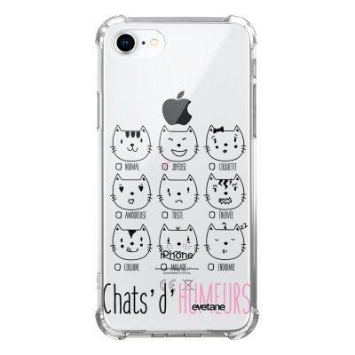 Coque iPhone 7/8/ iPhone SE 2020 anti-choc souple avec angles renforcés transparente Chats d'humeurs Evetane