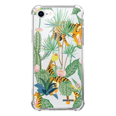 Coque iPhone 7/8/ iPhone SE 2020 anti-choc souple avec angles renforcés transparente Tigres et Cactus Evetane