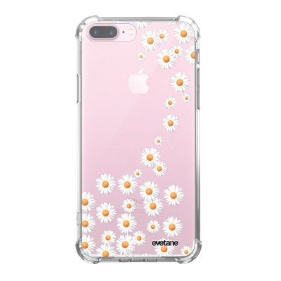 Coque iPhone 7 Plus / 8 Plus anti-choc souple avec angles renforcés transparente Marguerite Tendance Evetane...
