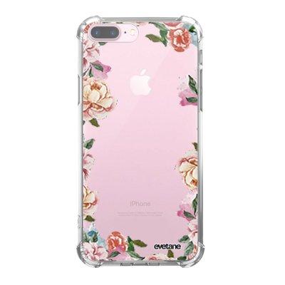 Coque iPhone 7 Plus / 8 Plus anti-choc souple avec angles renforcés transparente Flowers Tendance Evetane...