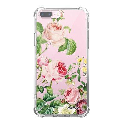 Coque iPhone 7 Plus / 8 Plus anti-choc souple avec angles renforcés transparente Motifs Roses Tendance Evetane...