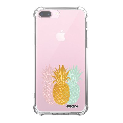 Coque iPhone 7 Plus / 8 Plus anti-choc souple angles renforcés transparente Ananas trio Evetane.