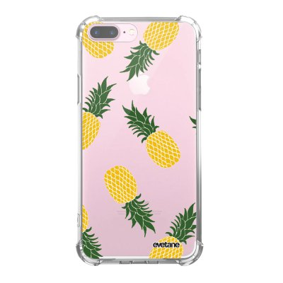 Coque iPhone 7 Plus / 8 Plus anti-choc souple angles renforcés transparente Ananas Motifs Evetane.