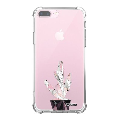Coque iPhone 7 Plus / 8 Plus anti-choc souple angles renforcés transparente Cactus Geometrique Marbre Evetane.