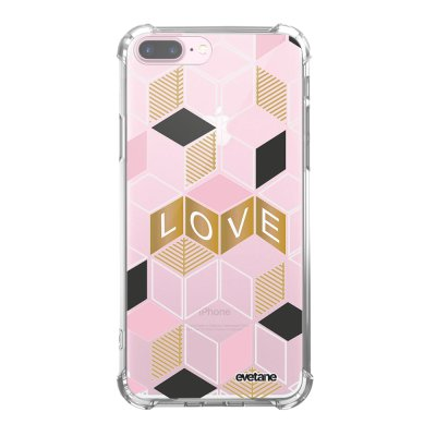 Coque iPhone 7 Plus / 8 Plus anti-choc souple angles renforcés transparente Cubes love Evetane.