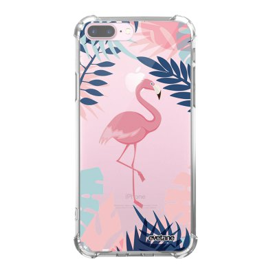 Coque iPhone 7 Plus / 8 Plus anti-choc souple angles renforcés transparente Flamant Tropical Evetane.