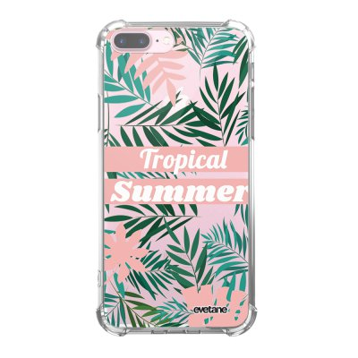Coque iPhone 7 Plus / 8 Plus anti-choc souple angles renforcés transparente Tropical Summer Pastel Evetane.