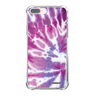 Coque iPhone 7 Plus / 8 Plus anti-choc souple angles renforcés transparente Tie and Dye Violet Evetane.