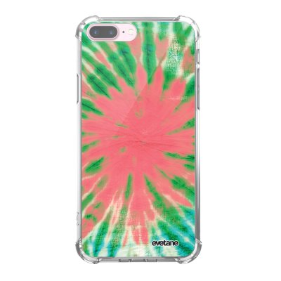 Coque iPhone 7 Plus / 8 Plus anti-choc souple angles renforcés transparente Tie and Dye Corail Evetane.